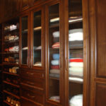Traditional Elegance in Brown Pearwood Wood Stain - Reeded Glass