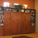 Sidefold Murphy Bed and Wall Unit in Muscavado Cherry with Stained Doors