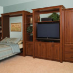 Traditional Style Wall Bed and Entertainment Center with Fluted Mouldings