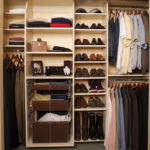 Reach-in Closet in Almond - Chrome Baskets with Leatherette Liners