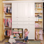 Baby Closet in White with Decorative Doors and Chrome Baskets