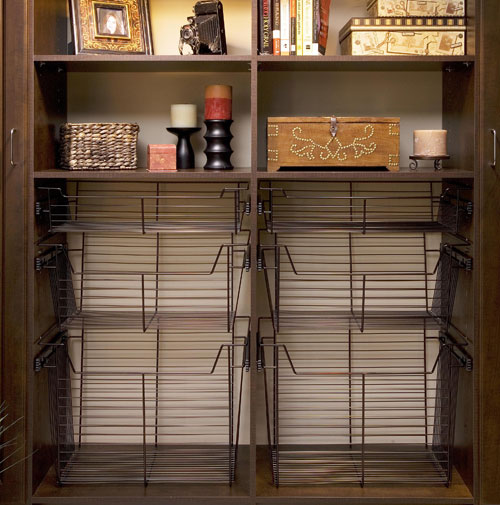 Sliding Wire Baskets In Oil Rubbed Bronze Finish Closet Trends