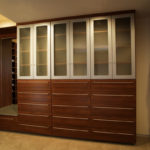 Contemporary Look in Coretto Cherry - Brushed Aluminum Foil Doors - Etched Glass